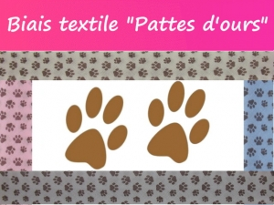 """Biais textile """"Pattes d'ours"""" Made in France"""