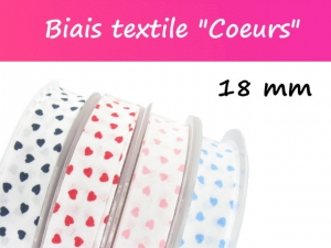 """Biais textile """"Coeurs"""" Made in France"""