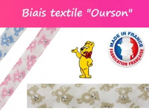 """Biais textile """"Ourson"""" Made in France"""