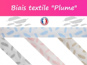"""Biais textile """"Plume"""" Made in France"""