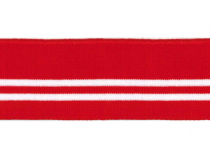 Bord cote polo rouge rayé blanc
