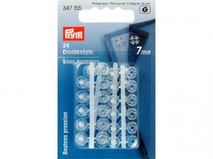 Boutons pression plastique 7mm transparent