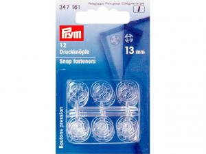 Boutons pression plastique 13mm transparent